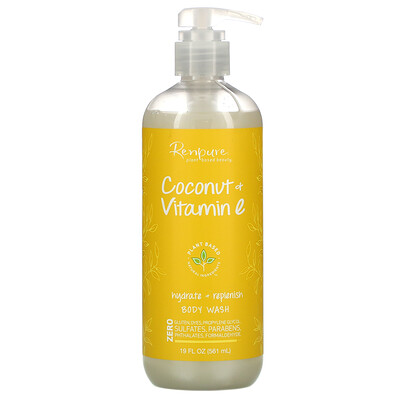 Renpure Coconut + Vitamin E, Hydrate + Replenish Body Wash, 19 fl oz (561 ml)
