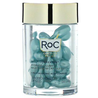 RoC, Multi Correxion, Hydrate + Plump, Night Serum Capsules, Fragrance-Free, 30 Biodegradable Capsules