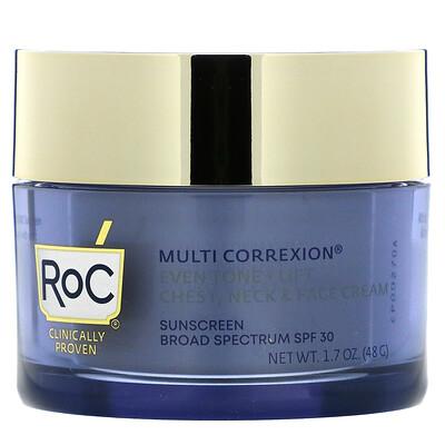 RoC Multi Correxion, Even Tone + Lift, 5 In 1 Chest, Neck & Face Cream, SPF 30, 1.7 oz (48 g)