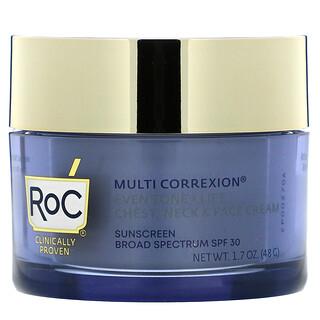 RoC, Multi Correxion, Even Tone + Lift, 5 In 1 Chest, Neck & Face Cream, SPF 30, 1.7 oz (48 g)