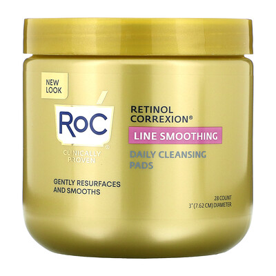 RoC Retinol Correxion, Line Smoothing Daily Cleansing Pads, 28 Count