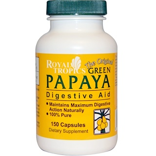 Royal Tropics, The Original Green Papaya, Digestive Aid, 150 Capsules