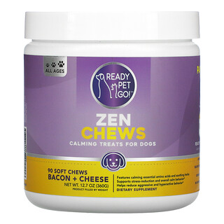 Ready Pet Go, Zen Chews, Calming Treats For Dogs, All Ages, Bacon + Cheese, 90 Soft chews