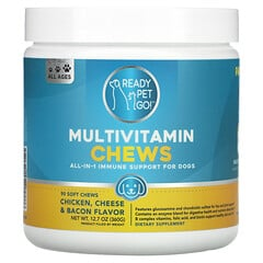 Ready Pet Go, 多維生素咀嚼片,犬用多合 1 機體抵抗支持配方,全年齡段,雞肉、奶酪和培根味,90 片軟咀嚼片