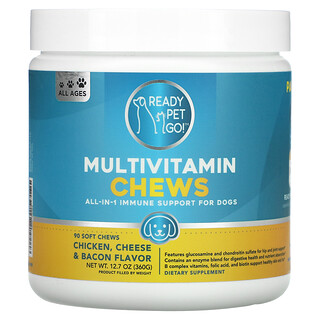 Ready Pet Go, Multivitamin Chews, All-In-1 Immune Support For Dogs, All Ages, Chicken, Cheese & Bacon, 90 Soft Chews
