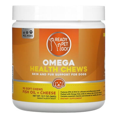 Купить Ready Pet Go Omega Health Chews, Skin and Fur Support For Dogs, All Ages, Fish Oil + Cheese, 90 Soft Chews