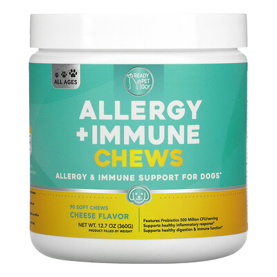 Ready Pet Go Allergy + Immune Chews, For Dogs, All Ages, Cheese, 90 Soft Chews