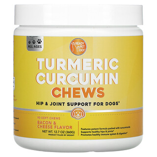 Ready Pet Go, Turmeric Curcumin Chews, Hip & Joint Support For Dogs, All Ages, Bacon & Cheese , 90 Soft Chews
