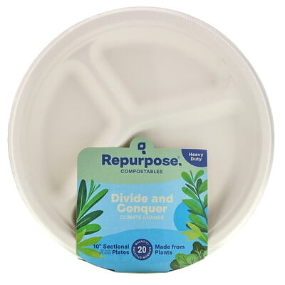 """Repurpose Heavy Duty, 10"""" Sectional Plates, 20 Count"""