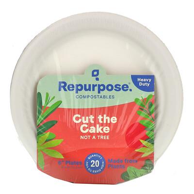 "Repurpose Heavy Duty, 6"" Plates, 20 Count"