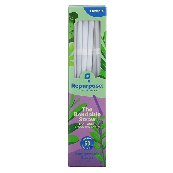 Flexible, Compostable Straws, 50 Count