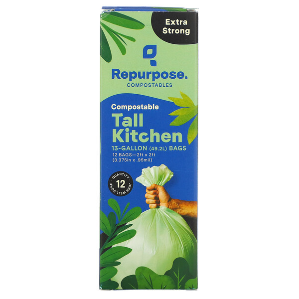 Repurpose, Extra Strong, 13 Gallon Tall Kitchen Bags, 12 Count