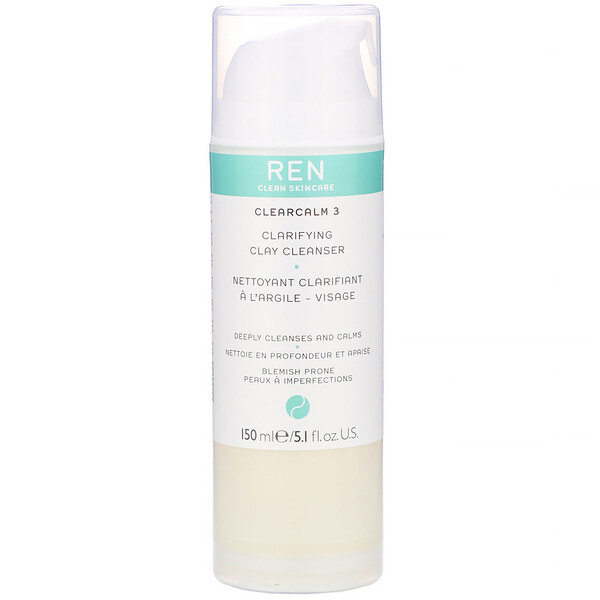 Ren Skincare, ClearCalm 3, Clarifying Clay Cleanser, 5.1 fl oz (150 ml) (Discontinued Item)