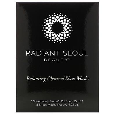 Купить Radiant Seoul Балансирующие угольные тканевые маски, 5 тканевых масок, весом 25 мл (0, 85 унции) каждая