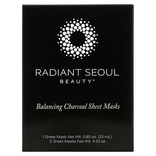 Radiant Seoul, 木炭平衡美容面膜,5 片装面膜片,每片 0.85 盎司(25 毫升)