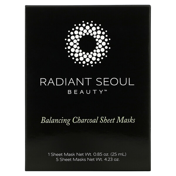 Radiant Seoul, أقنعة الفحم الورقية لتوازن البشرة، 5 أقنعة ورقية، كل قناع 0.85 أونصة (25 مل)