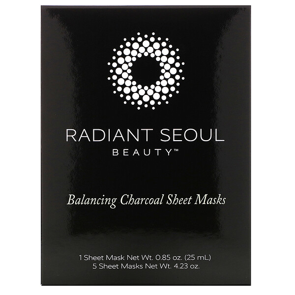 Radiant Seoul, Balancing Charcoal Sheet Masks, 5 Sheet Masks, 0.85 oz (25 ml) Each