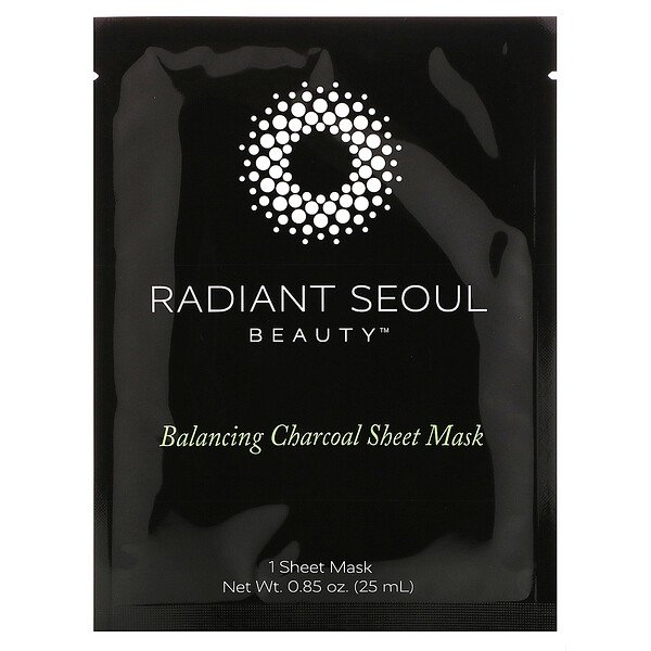 Radiant Seoul, Balancing Charcoal Sheet Mask, 1 Sheet Mask, 0.85 oz (25 ml)