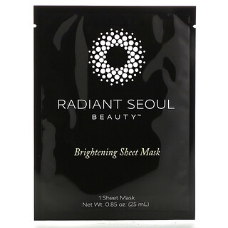Radiant Seoul, 亮膚美容面膜,1 片裝面膜,每片 0.85 盎司(25 毫升)