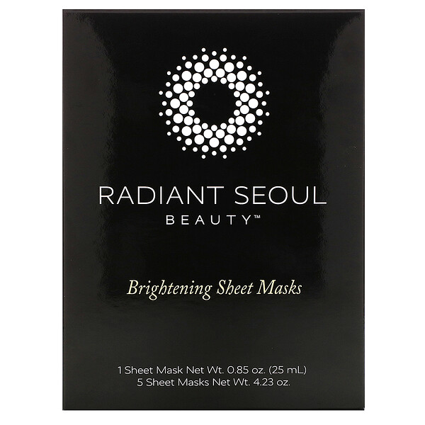 Radiant Seoul, Brightening Sheet Mask, 5 Sheet Masks, 0.85 fl oz (25 ml) Each