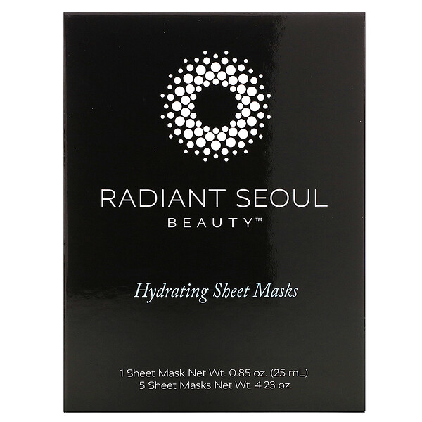 Radiant Seoul, Hydrating Sheet Mask, 5 Sheet Masks, 0.85 oz (25 ml) Each