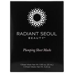Radiant Seoul, Plumping Beauty Sheet Mask, 5 Sheet Masks, 0.85 oz (25 ml) Each