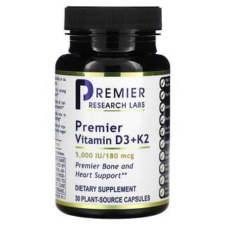 Premier Research Labs, Premier Vitamin D3+ K2, 5,000 IU/180 mcg, 30 Plant-Source Capsules