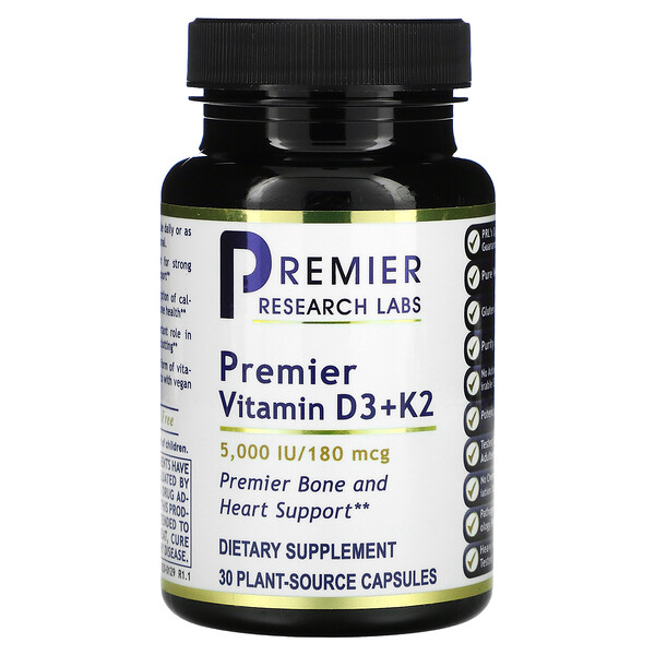 Premier Vitamin D3+ K2, 5,000 IU/180 mcg, 30 Plant-Source Capsules