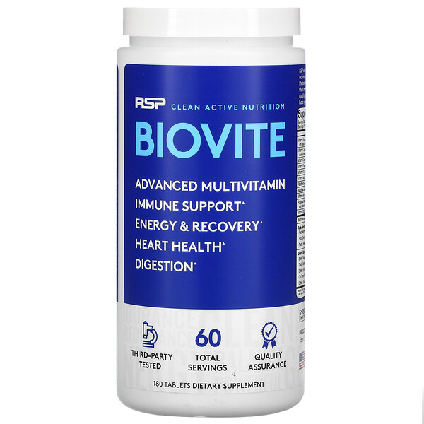 BioVite Advanced Multivitamin & Immune Support, 180 Tablets