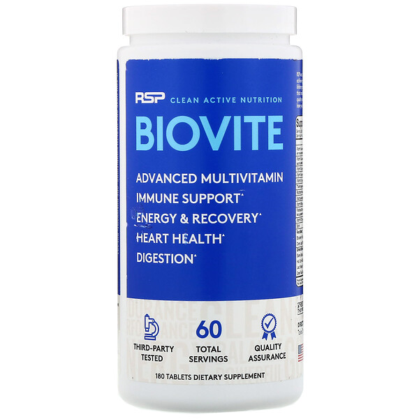 RSP Nutrition, BioVite Advanced Multivitamin & Immune Support, 180 Tablets