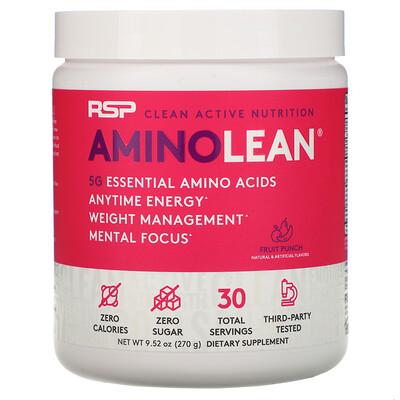 Купить RSP Nutrition AminoLean, смесь для приготовления энергетических напитков, фруктовый пунш, 270 г (9, 52 унции)