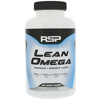 RSP Nutrition, LeanOmega, Omegas+ Weight Loss, 120 Softgels