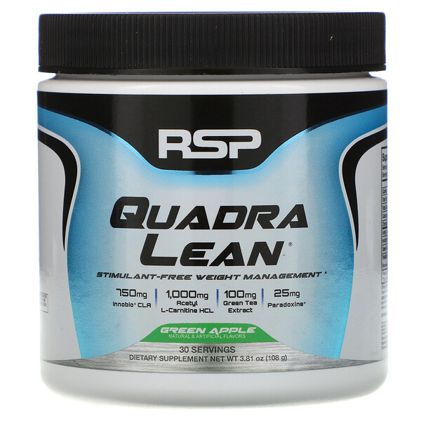 RSP Nutrition, QuadraLean, Stimulant-Free Weight Management, Green Apple, 3.81 oz (108 g) (Discontinued Item)