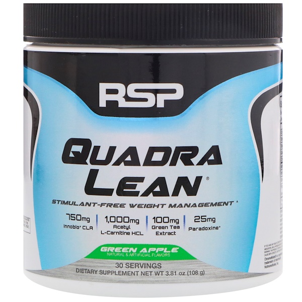 RSP Nutrition, Quadra Lean, Stimulant-Free Weight Management, Green Apple, 3.81 oz (108 g)