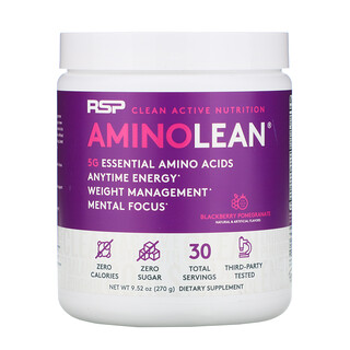 RSP Nutrition, AminoLean, Essential Amino Acids + Anytime Energy, Blackberry Pomegranate, 9.52 oz (270 g)