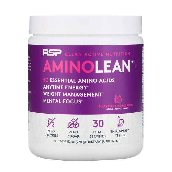 AminoLean, Essential Amino Acids + Anytime Energy, Blackberry Pomegranate, 9.52 oz (270 g)