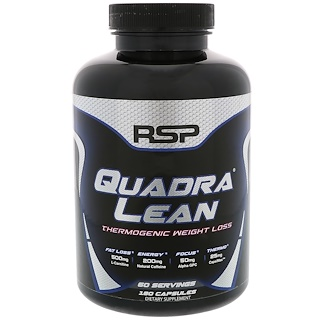 RSP Nutrition, QuadraLean Thermogenic Weight Loss, Energy + Fat Loss + Focus, 180 Capsules