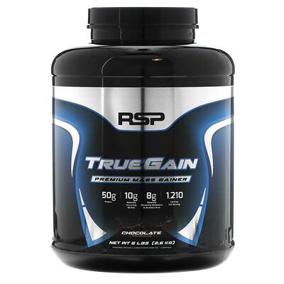 RSP Nutrition TrueGain Premium Mass Gainer, Chocolate, 6 lbs (2.6 kg)