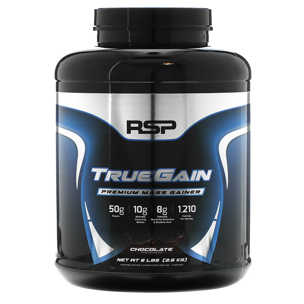 RSP Nutrition, TrueGain Premium Mass Gainer, Chocolate, 6 lbs (2.6 kg)