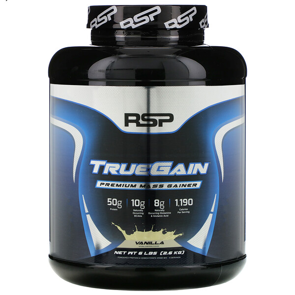 RSP Nutrition, TrueGain Premium Mass Gainer, Vanilla, 6 lbs (2.6 kg) (Discontinued Item)