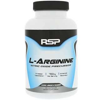 RSP Nutrition, L-аргинин, 750 мг, 100 капсул