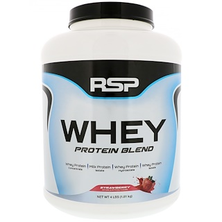 RSP Nutrition, ホエイプロテインブレンド、ストロベリー、1.81 kg(4ポンド)
