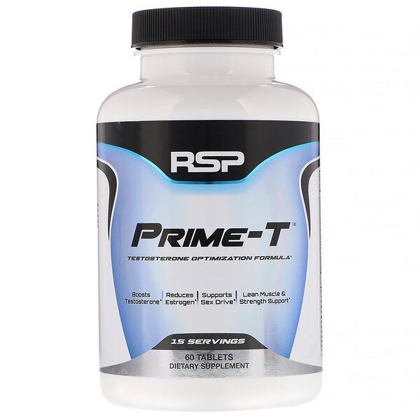 RSP Nutrition, Prime-T, potenciador de testosterona, 60 comprimidos
