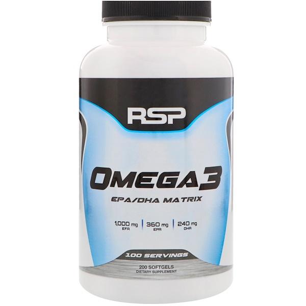 RSP Nutrition, オメガ3、ソフトゲル200個
