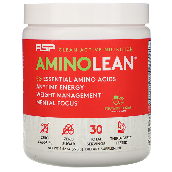 RSP Nutrition, AminoLean, Essential Amino Acids + Anytime Energy, Strawberry Kiwi, 9.52 oz (270 g)