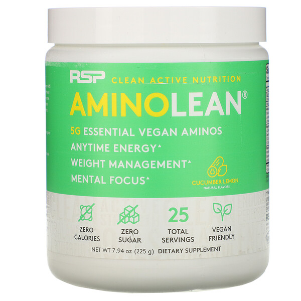 RSP Nutrition, AminoLean, Essential Vegan Aminos, Cucumber Lemon, 7.94 oz (225 g)