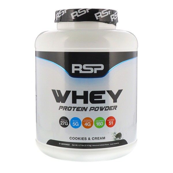 RSP Nutrition, Whey Protein Powder, Cookies and Cream, 4.7 lbs (2.14 kg)
