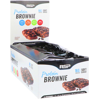 RSP Nutrition, Protein Brownie, Classic Fudge, 12 Brownies, 1.87 oz (53 g) Each