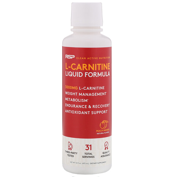 L-Carnitine, Peach Mango, 3,000 mg, 16 fl oz (473 ml)