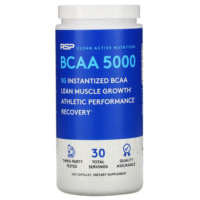 RSP Nutrition, BCAA 5000,即溶支鏈氨基酸,240 粒膠囊